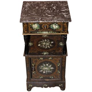 Night Table Hand Painted With Marble Top,  Circa 1900s France photo
