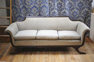Antique American Empire Carved Solid Walnut Sofa Settee Couch Brass Capped Feet photo