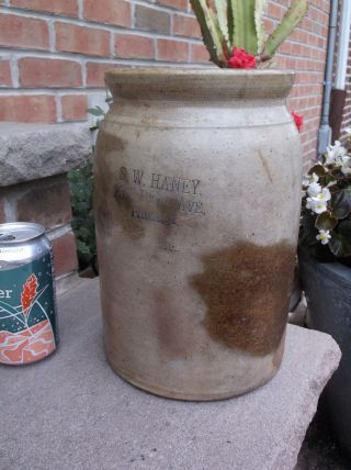 Antique S.  W.  Haney Philadelphia Stonewear Advertising Canning Crock Jar photo
