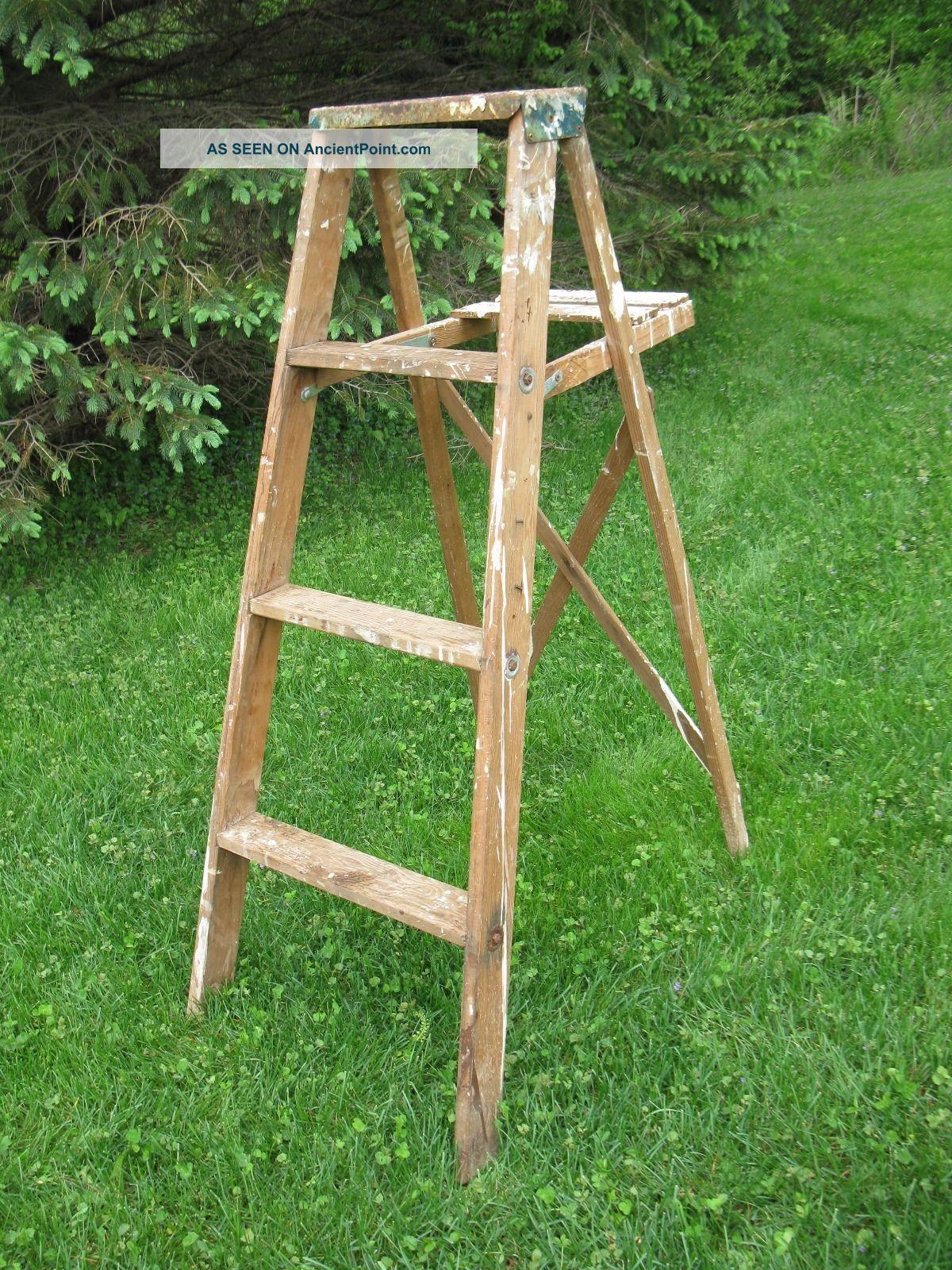 Old Vintage 4 Ft Wooden Step Ladder Rustic Primitive Decor