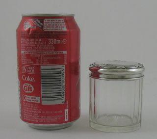 Antique Edwardian Solid Silver Top Glass Vanity Jar Ribbon & Thread D Bham 1910 photo