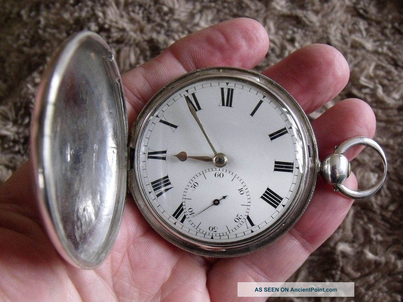 1823 Silver Hunter Pocket Watch ' Barber & Co. ,  York ' Cylinder M/m - Gwo Pocket Watches/ Chains/ Fobs photo