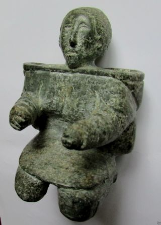 Inuit Carved Figure Fine Stone Carving Kneeling Inuit Art Sculpture Af photo