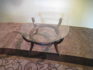 53489 Antique Mahogany Round Glass Top Coffee Table photo