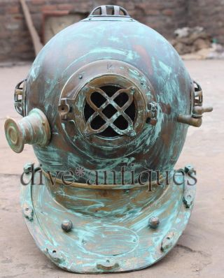 U.  S Navy Mark Iv Diving Divers Helmet Solid Brass Real Antique 18