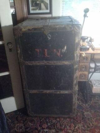 Antique Wardrobe Steamer Trunk / Vintage Travel Stickers/ Mendel Trunx - Lutz photo
