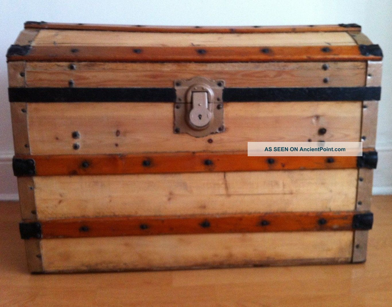 Antique Victorian Restored Domed Steamer Trunk - Storage Treasure Chest 1900-1950 photo