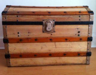 Antique Victorian Restored Domed Steamer Trunk - Storage Treasure Chest photo