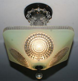 Antique Jadeite Green Glass Square Custom Art Deco Light Fixture Chandelier photo