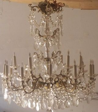 Grand French Rococo Antique Vtg Crystal 4 Teir 18 Light Chandelier Brass Canopy photo