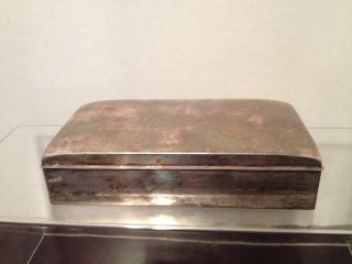 Antique Silverplate/wood Cigarette Box By Poole 1899 photo