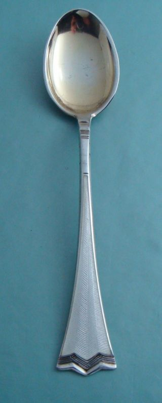 Vintage Jacob Tostrup Norway 925s Sterling Silver White Enamel Kronesolv Spoon photo