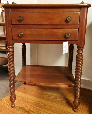 Vtg Willett Wildwood Solid Cherry Wood 2 Drawer Stand Twisted Rope Turned Legs photo