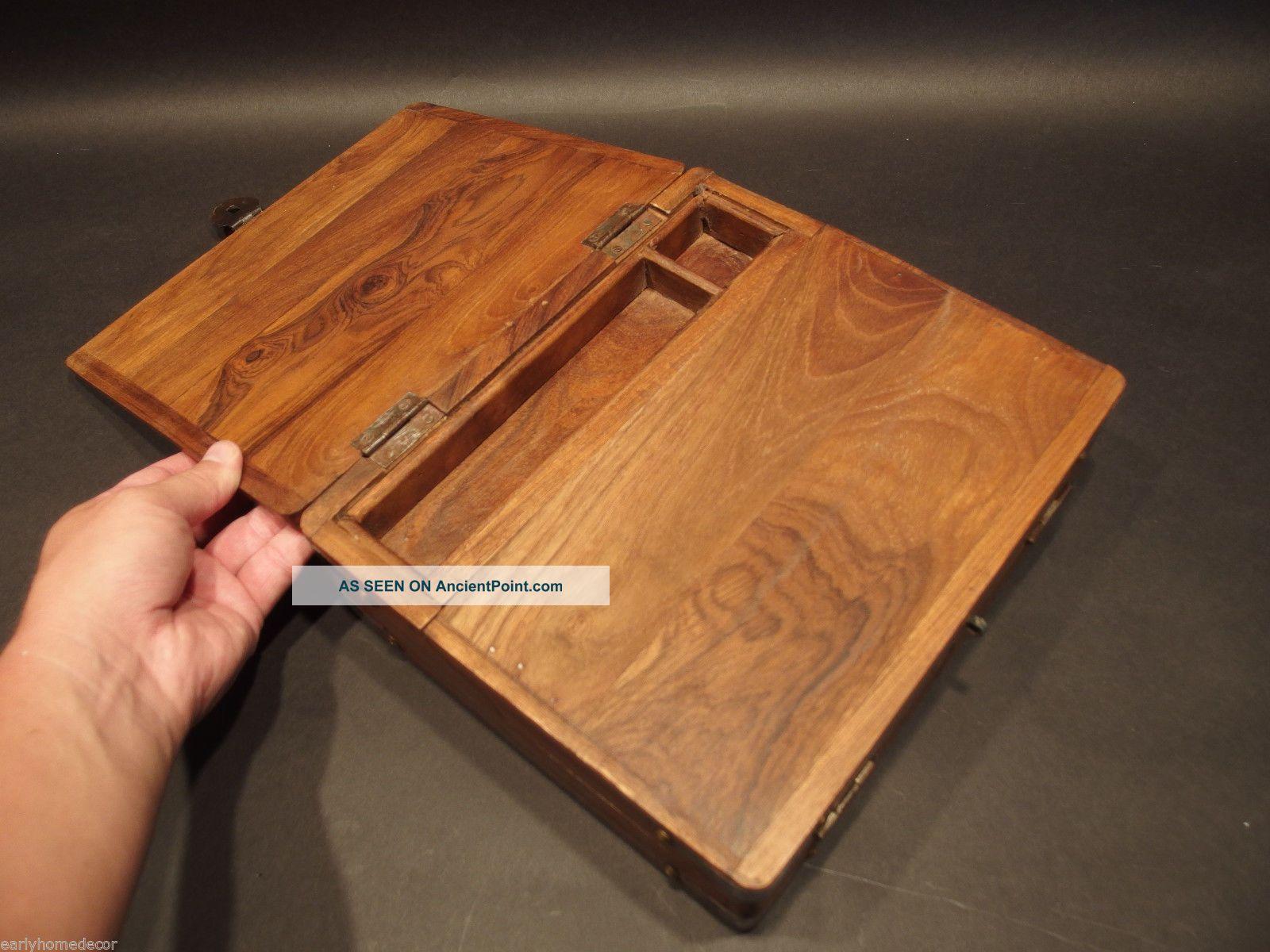 Antique Vintage Style Folding Doent Writing Slope Lap Desk Campaign Box