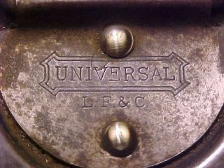 Universal L.  F.  & C.  Metal Slide Out Lunch Box 1900 ' S Antique photo