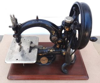 Antique Willcox Gibbs Sewing Machine Hand Cranked Cast Iron Treadle Portable photo