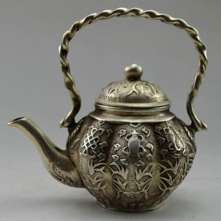 Old Chinese Handwork Tibet Silver Carved Flower Fish Tea Pot photo