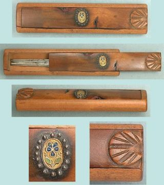 Unusual Antique Palais Royal Wood Needle Case W/ Pansy Circa 1820 photo