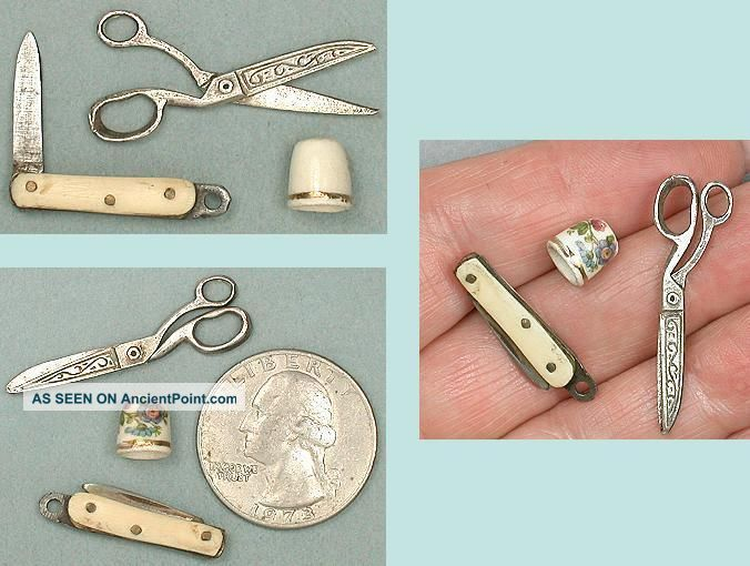 Antique Miniature Doll ' S Sewing Tools English 19th Century Other Antique Sewing photo