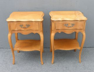 Vintage French Provincial Nightstands Side Tables Brass Hardware Country Cottage photo