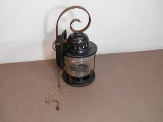 Vintage Light Lamp Nautical Lantern Glass Globe Porch With A Pull Switch photo