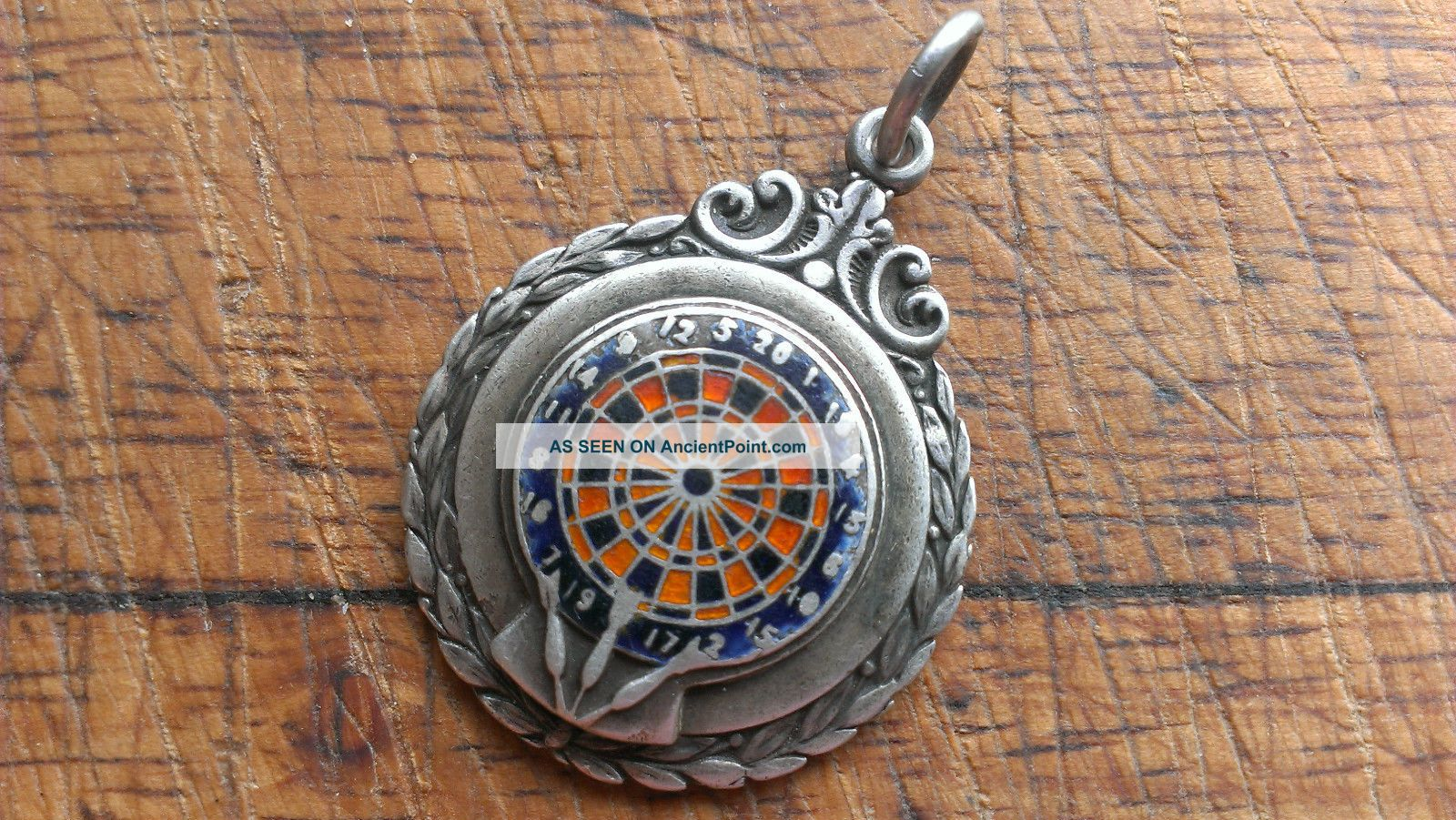 Vintage C 1949 Hallmarked Ornate Sterling Silver Enamel Darts Medal Watch Fob Pocket Watches/ Chains/ Fobs photo