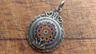 Vintage C 1949 Hallmarked Ornate Sterling Silver Enamel Darts Medal Watch Fob photo