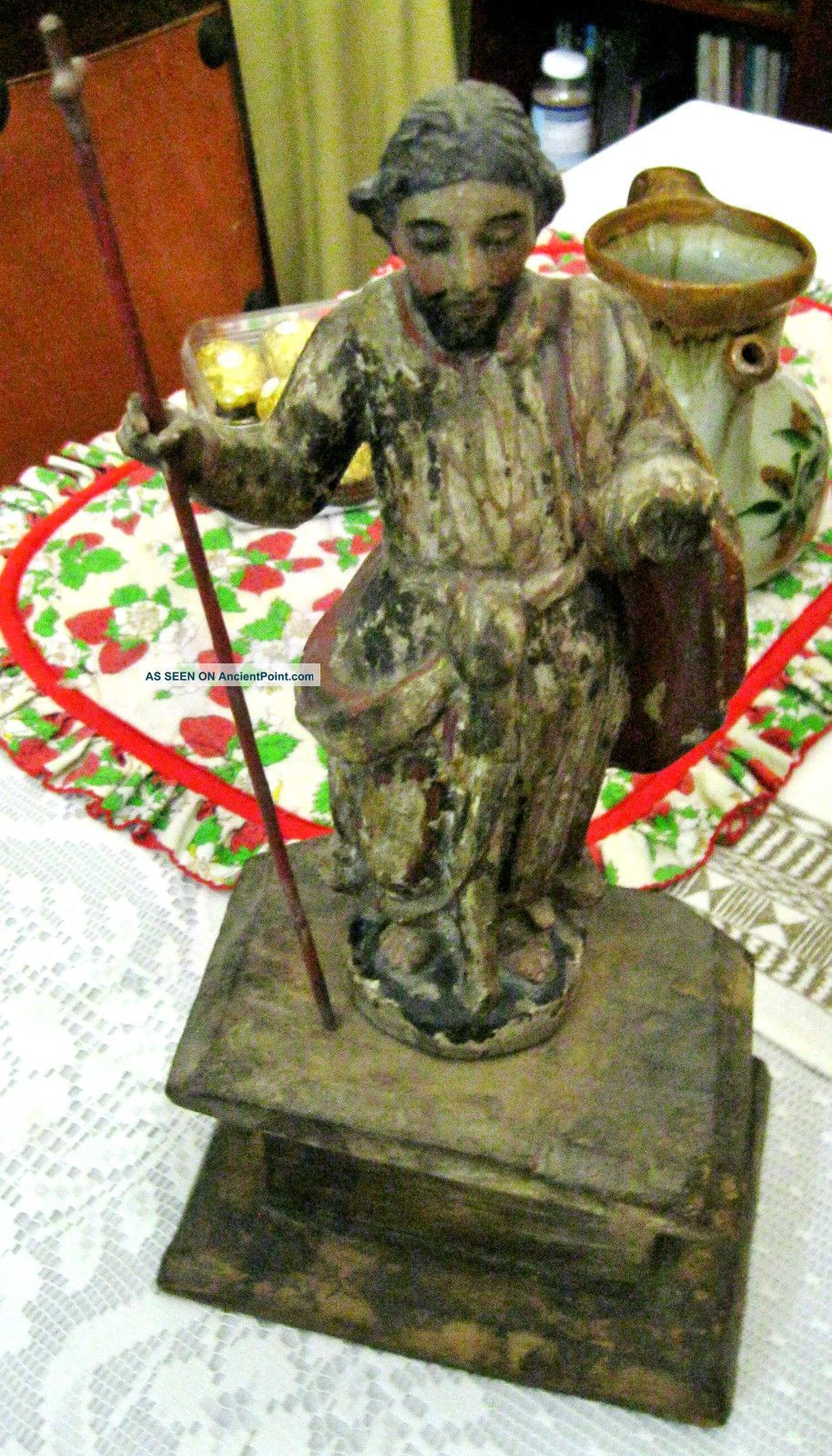 Antique Colonial Carved Wood Santo Image Of Jesus With Wood Base Latin American photo
