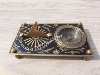 4 Inch J.  Scott Brass Pocket Sundial Compass With Leather Case. photo