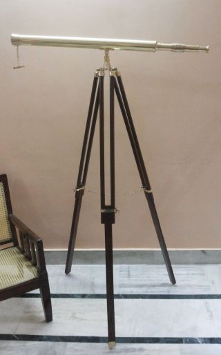Nautical Brass Telescope With Wooden Tripod Stand Nautical Maritime Decor photo
