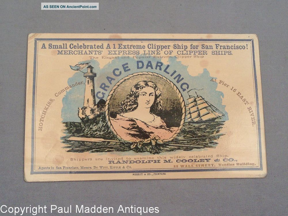 19th C.  Antique Trade Ship Card - American Extreme Clipper Ship Grace Darling Other Maritime Antiques photo