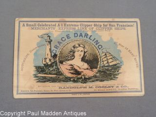 19th C.  Antique Trade Ship Card - American Extreme Clipper Ship Grace Darling photo