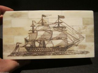 Antique Style Folk Art Sail Ship Scrimshaw Bone & Wood Trinket Box photo