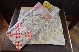 Vintage Calico Doll's Bedding Dolls Quilt With Ticking Mattress And Pillow photo