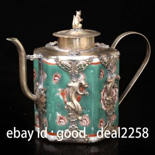 Old Porcelain & Tibet Silver Hand Painted Flower Teapot & Mouse Lid photo