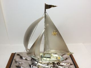 Japanese Antique Model Ship Yacht Silver E.  P photo