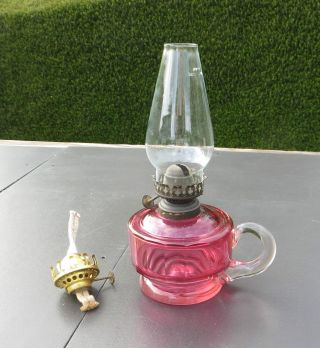 Antique/vintage Faceted Cranberry Glass Handheld Oil Lamp With Chimney photo