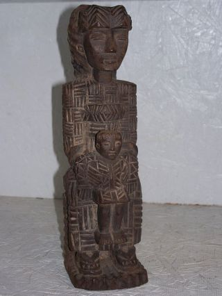 South America Mexico Stylized Mother Child Wood Carving Highly Detailed Aztec Nr photo