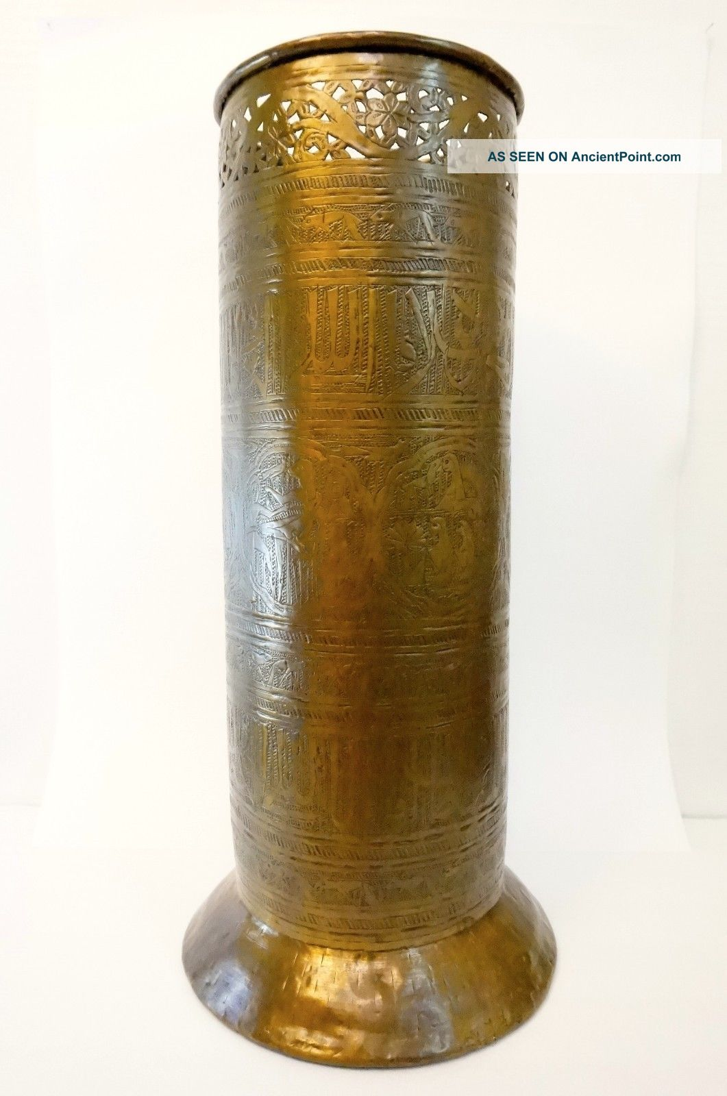 Antique Victorian Brass Umbrella Stand Hammered Brass Egyptian Revival 19th Cent 1800-1899 photo