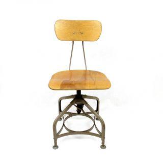 Vintage 1940 ' S Toledo Drafting Chair Stool Industrial Metal Maple Wood Steampunk photo