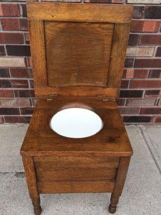 Antique Chamber Pot Wooden Chair Vintage Commode Potty Toilet Box Primitive Oak photo
