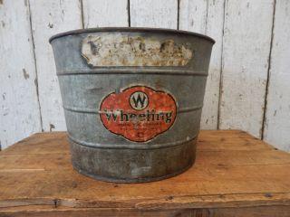 Old Vintage Galvanized Metal Farm Wash Tub Primitive Shabby Barn Rustic Decor photo