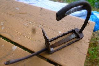 Rare Stirrup 1800,  - Iron Forged Hinged Horse Signed Bagh ? Opens. photo