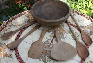 Rustic Vintage Antique Primitive Wooden Bowl W/ (4) Wooden Spoons & (2) Paddles photo