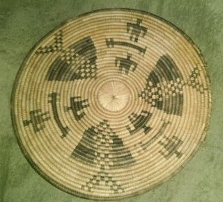 Antique Indian Wicker Woven Basket Tray 15 1/2
