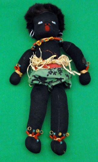 Antique Primitive Black African American Cloth Folk Art Doll Straw Filled photo
