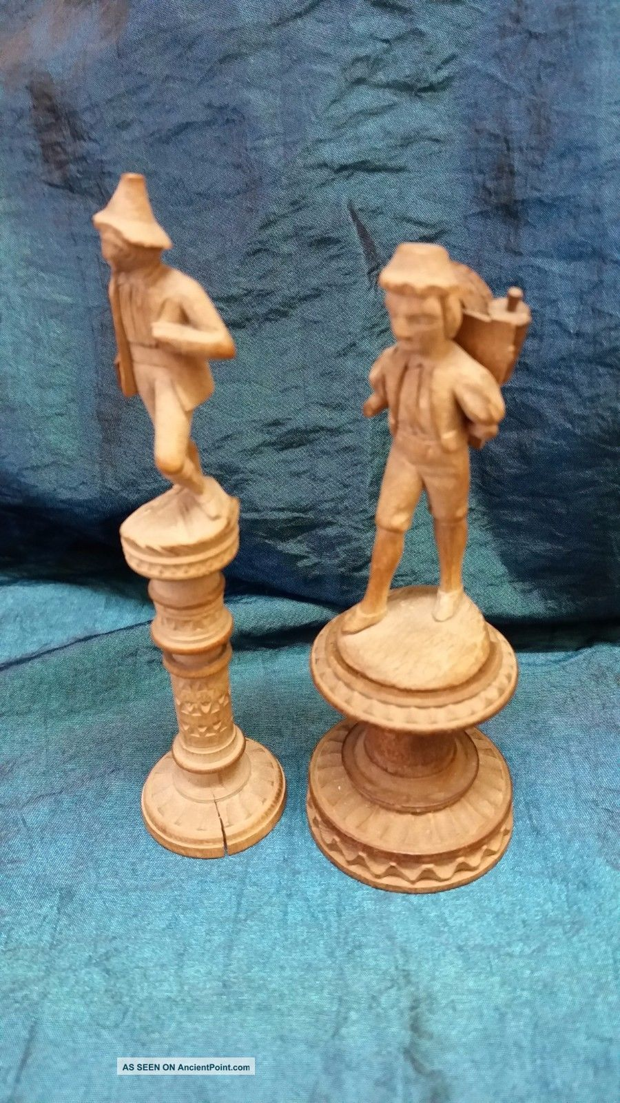 Two Antique Carved Figures - Tyrolean - 1 Needle Case & 1 Spool - Circa 1890 Needles & Cases photo