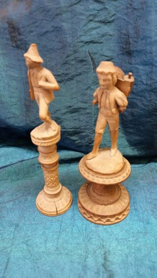 Two Antique Carved Figures - Tyrolean - 1 Needle Case & 1 Spool - Circa 1890 photo