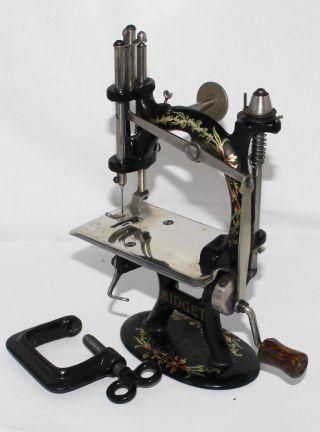 Rare Antique Foley & Williams Cast Iron Midget Sewing Machine W/original Box photo