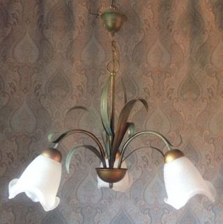 Attractive 3 Arm Vintage French Toleware Chandelier Light Fitting G8 photo